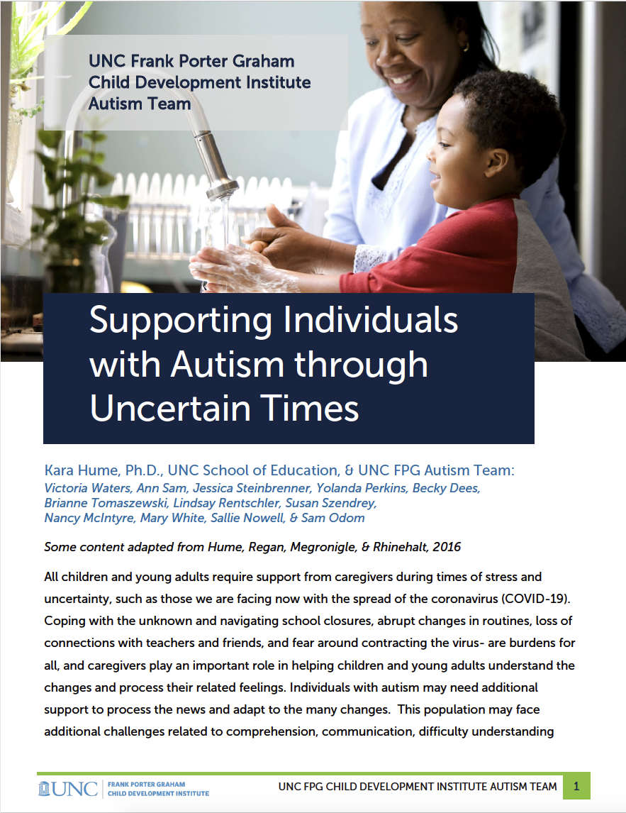 "Cover of ""Supporting Individuals with Autism through Uncertain Times"""